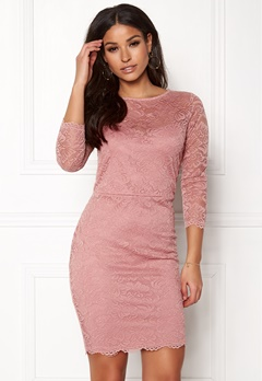New Look Go Floral Lace Bodycon Dress Shell Pink Bubbleroom.se
