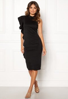 New Look Go Frill Bodycon Dress Black Bubbleroom.se