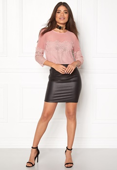 New Look Go LS Mesh Lace Crop Mid Pink Bubbleroom.fi