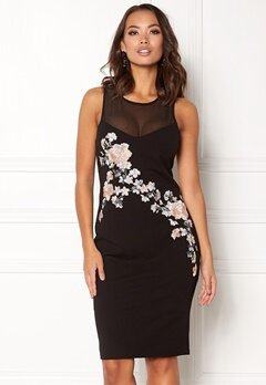 New Look Go Prem Mesh Insert Dress Black Pattern Bubbleroom.no