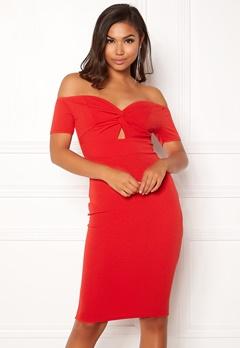 New Look Go Twist Bardot Dress Red Bubbleroom.se