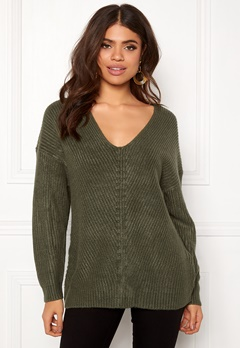 New Look Lattice Back Jumper Dark Green Bubbleroom.se