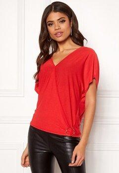 New Look Nongi Crepe Wrap Top 60 Bright Red Bubbleroom.se