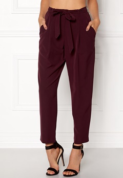 New Look Olivia Tie Waist Trouser Burgundy Bubbleroom.se
