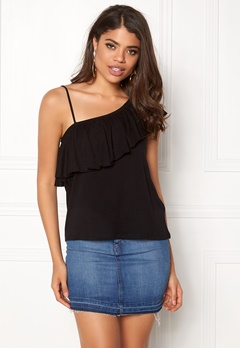 New Look One Shoulder Ruffle Tank Black Bubbleroom.no