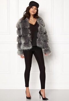 New Look Pelted Fur Short Coat Grey Bubbleroom.se
