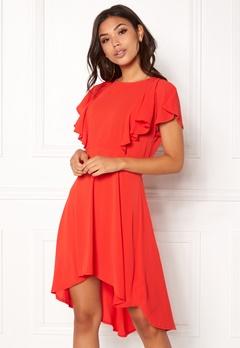 New Look Plain Frill Empire Dress Red Bubbleroom.fi