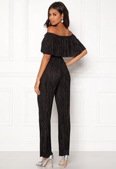 New Look Plisse Bardot Jumpsuit Black Bubbleroom.se