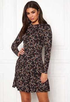 New Look Print L/S Flower Dress Black Pattern Bubbleroom.se