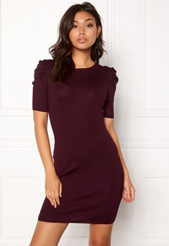 New Look Puff Sleeve Bodycon Dress Burgundy Bubbleroom.fi