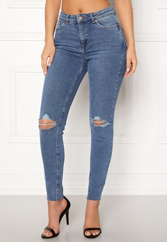 New Look Ripped Cut Off Jeans Mid Blue Bubbleroom.se