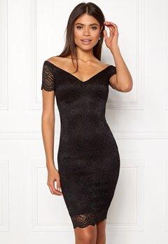New Look Scallop Bardot Midi Dress Black Bubbleroom.se