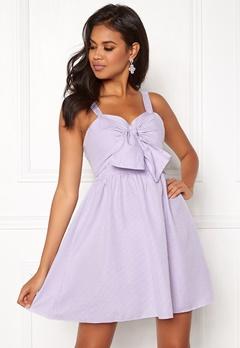 New Look Seersucker Twist Front Dress Purple Pattern Bubbleroom.se