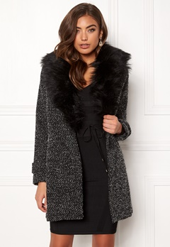 New Look Shawl Fake Fur Jacket Black Bubbleroom.se