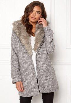 New Look Shawl Fake Fur Jacket Grey Bubbleroom.se
