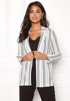 New Look Soft Crepe Stripe Blazer White Pattern Bubbleroom.se