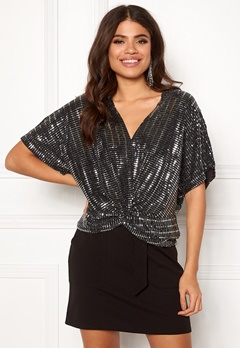 New Look Sparkle Twist Front Top Black Pattern Bubbleroom.se