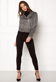 New Look Stretch Suedette Biker Pale Grey Bubbleroom.fi