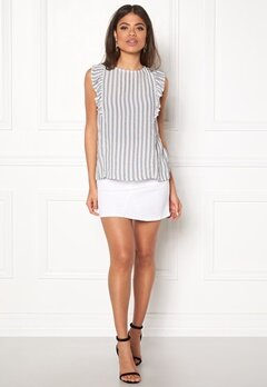 New Look Stripe Frill Sless Shell White Pattern Bubbleroom.fi