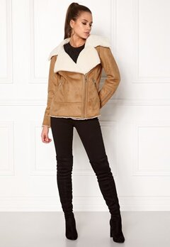 New Look Vally Shearling Biker Tan Bubbleroom.fi