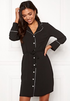 New Look Piped Belted Dress Black Pattern Bubbleroom.se