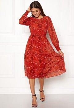VILA Nilah L/S Midi Dress Orange Com Bubbleroom.se