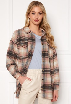 Noisy May Fanny L/S Long Shacket Bright White Checks: Bubbleroom.se