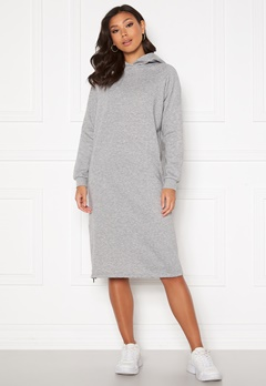 Noisy May Helene L/S Sweat Dress Light Grey Melange Bubbleroom.se