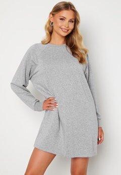 Noisy May Lupa L/S Sweat Dress Ligth Grey Melange Bubbleroom.se