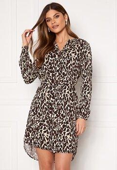 OBJECT Baya L/S V-Neck Dress Sandshell W Animal Bubbleroom.se
