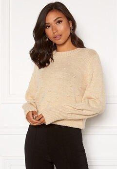 OBJECT Bouble L/S Knit Pullover Sandshell Melange Bubbleroom.se