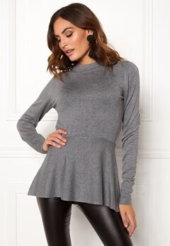 OBJECT Carin L/S Knit Pullover Medium Grey Melange Bubbleroom.se