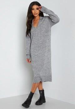 Object Collectors Item Laura L/S knit dress Light Grey Melange bubbleroom.se