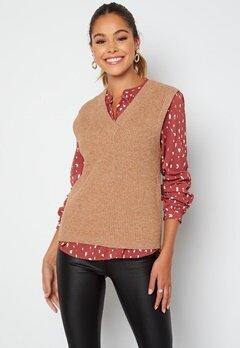 Object Collectors Item Malena S/L knit waistcoat Chipmunk Melange Bubbleroom.se