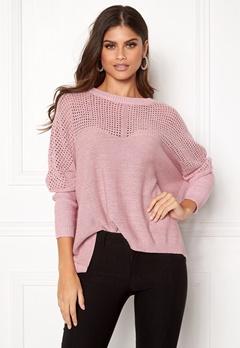 OBJECT Darren L/S Knit Pullover Pink Nectar Bubbleroom.dk