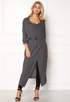 OBJECT Deanna Knit Long Cardigan Medium Grey Melange Bubbleroom.se