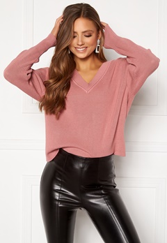 OBJECT Divian L/S Knit Pullover Ash Rose Bubbleroom.se