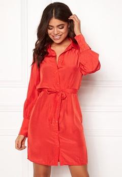 OBJECT Dotteo L/S Shirt Dress Fiery Red Bubbleroom.se