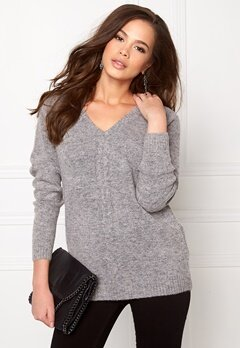 OBJECT Ebbie L/S knit pullover Light grey melange Bubbleroom.se
