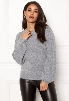 OBJECT Eve Nonsia LS Knit Pullover Light Grey Melange Bubbleroom.se