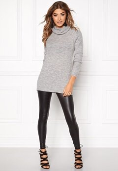 OBJECT Evie L/S Long Knit Light Grey Melange Bubbleroom.se