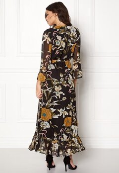 OBJECT Fabrice L/S Long Dress Black/Floral Bubbleroom.se