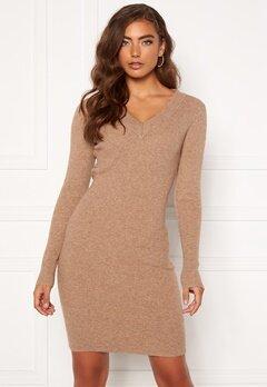 OBJECT Fae Thess L/S Rib Knit Dress Chipmunk Bubbleroom.se