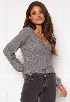 OBJECT Holly LS Knit Pullover Medium Grey Melange Bubbleroom.se