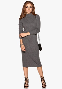 OBJECT Iben L/S Long Dress Dark Grey Melange Bubbleroom.eu