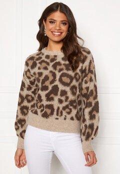 OBJECT Leoana L/S Knit Pullover Humus Pattern:leo Bubbleroom.se