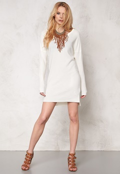 OBJECT Nadine L/S Knit Dress Egret Bubbleroom.fi