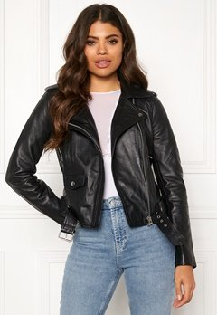 OBJECT Nandita Leather Jacket Black Bubbleroom.se