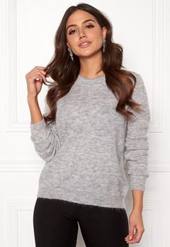 OBJECT Nete L/S Knit O-neck Pullover Light Grey Melange Bubbleroom.se