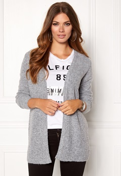 OBJECT Nonsia Rib Knit Cardigan Light Grey Melange Bubbleroom.fi